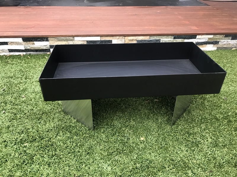 Rectangle Fire Pit Steel Base Stainless Steel Feet Made In